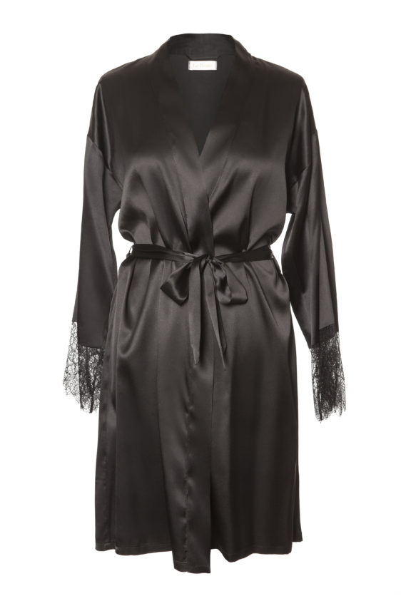 All Black Silk Robe