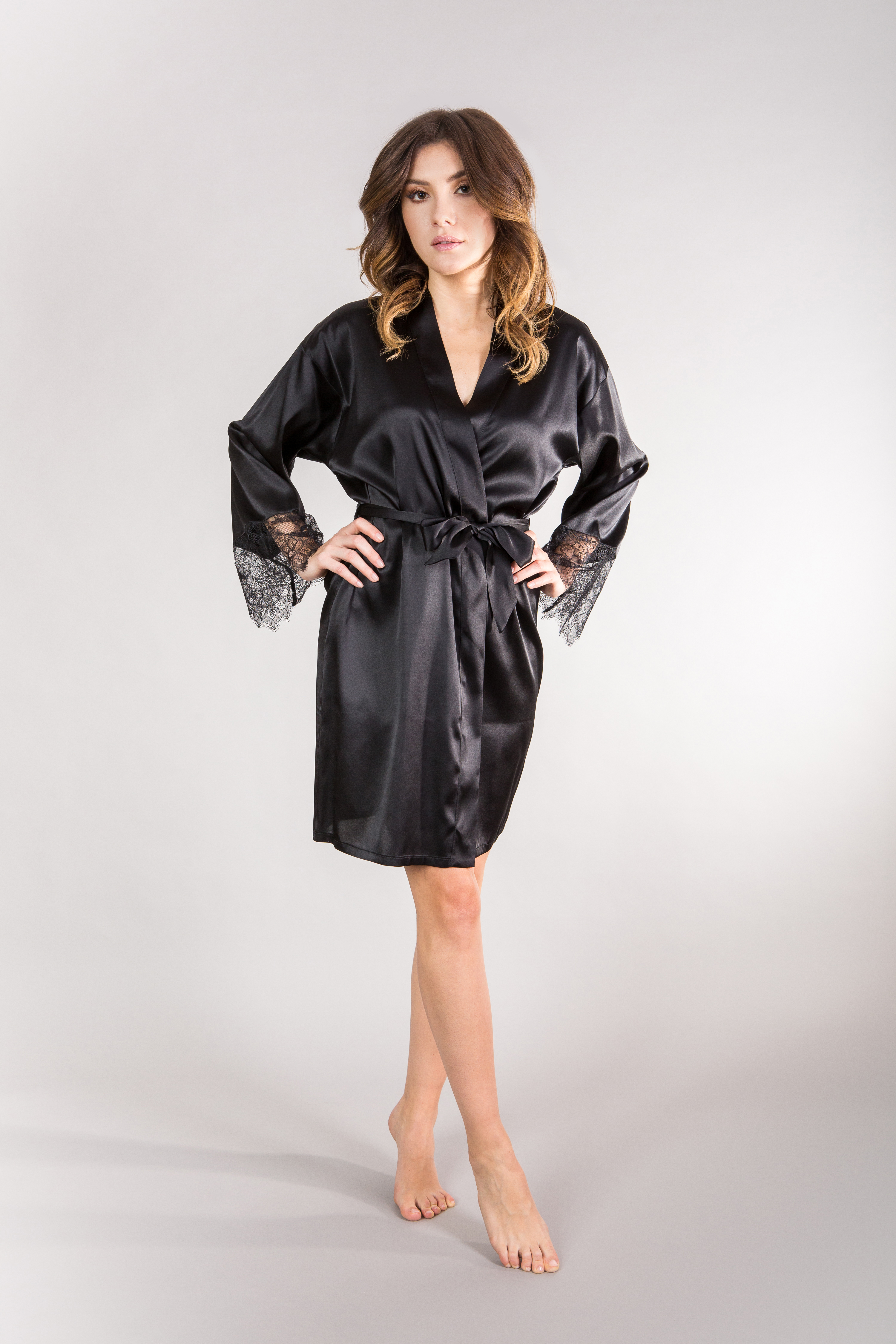 c87f4e8ddd33 Jedwabny szlafrok czarny - All Black Silk Robe - Le Brate