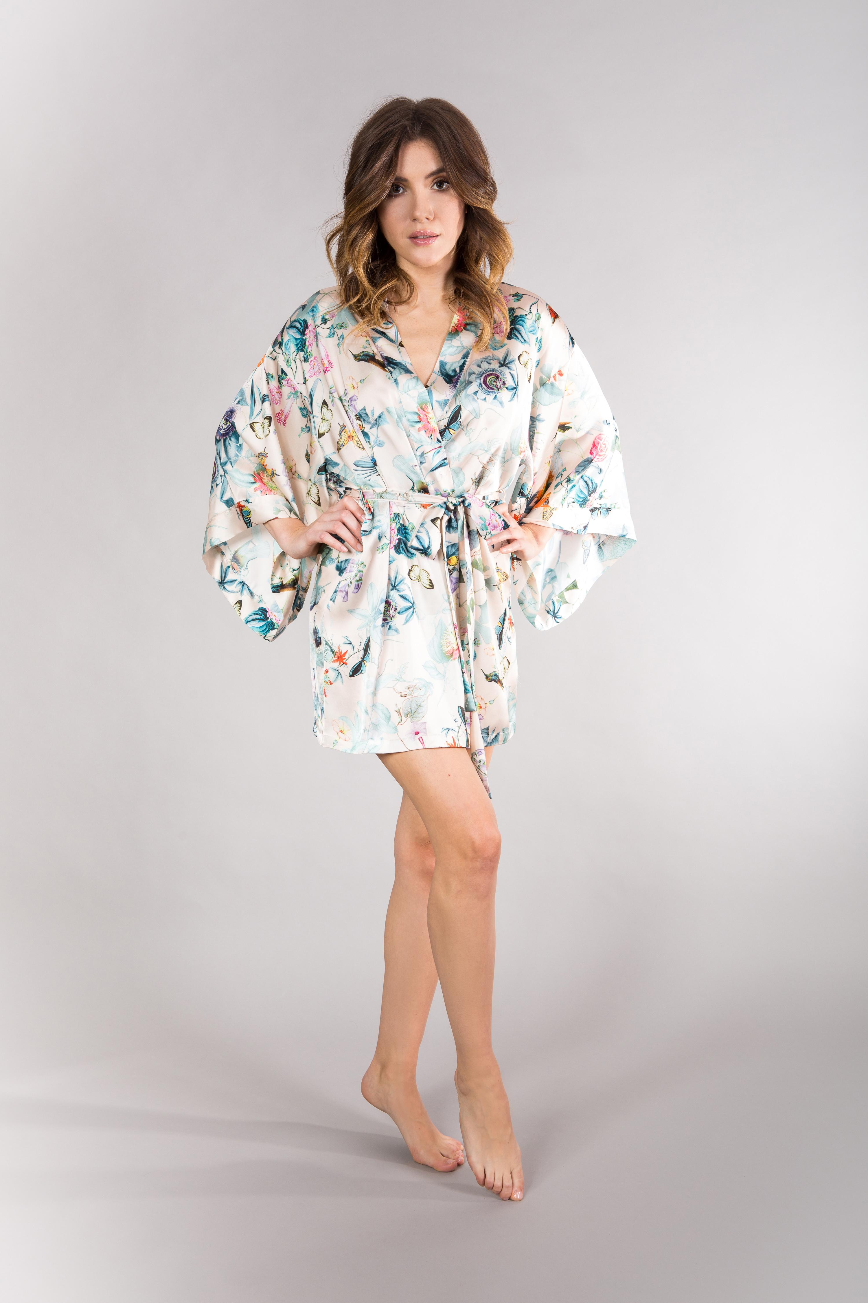 jedwabny szlafrok kimono