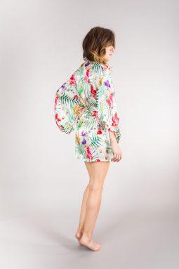 jedwabne kimono w kwiaty