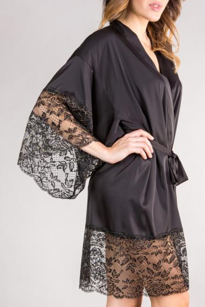 czarne kimono seksowne z koronką