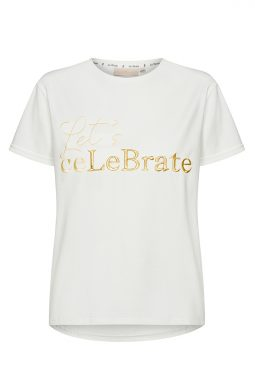 Bawełniany T-shirt z haftowanym napisem Let's ceLeBrate