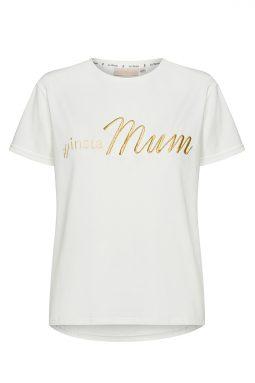 Bawełniany T-shirt z haftowanym napisem Insta MUM