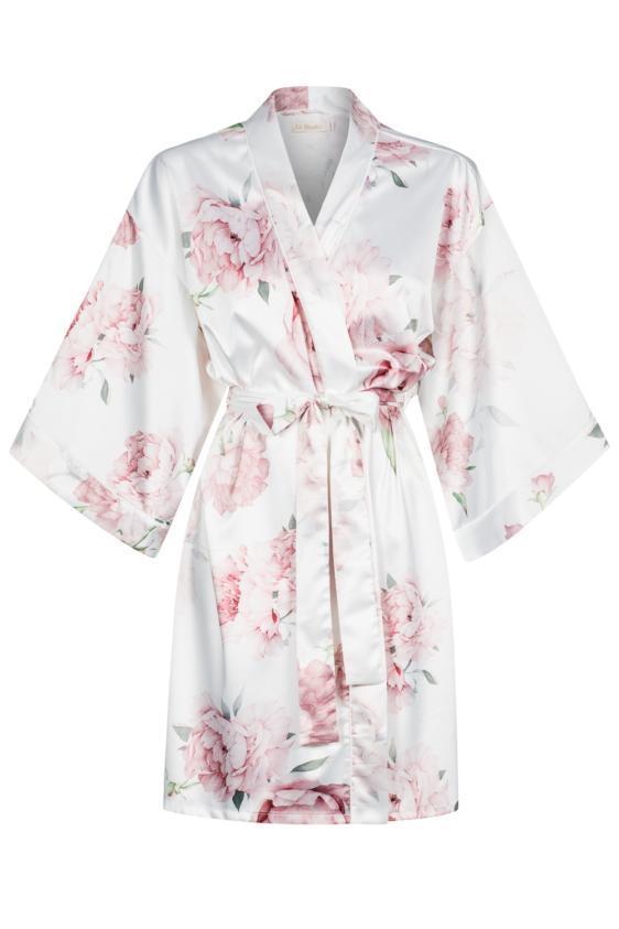 Szlafrok w piwonie - Peony Bride Kimono Midi No.3