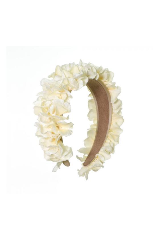 Opaska do włosów kwiatowa - kremowa