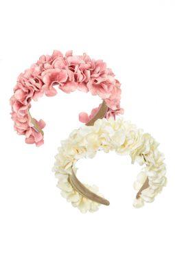 Opaska do włosów kwiatowa różowa i kremowa