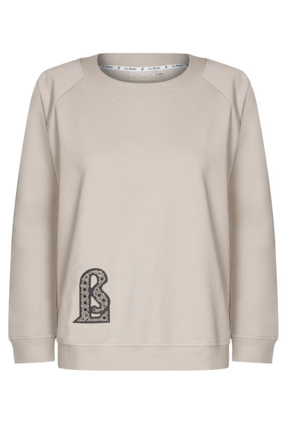 Bawełniana beżowa bluza z okrągłym dekoltem