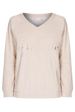 Welurowy dres z haftowanym napisem Let's ceLeBrate